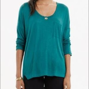 Madewell Teal Scoop Neck Roster Pocket Tee - XS